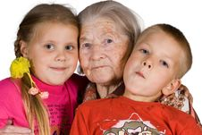 Grandsons And The Grandmother Royalty Free Stock Photo