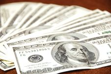 Hundred Dollar Notes Design Stock Photo