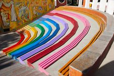Free Rainbow Colored Benches Royalty Free Stock Photos - 3294878