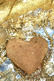 Free Golden Decoration Heart Stock Photography - 3295902