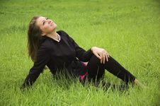 Free The  Girl  On A Green Grass Stock Photos - 3299003