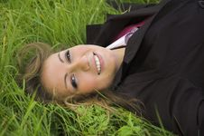 Free The Girl On A Green Grass Royalty Free Stock Photos - 3299048