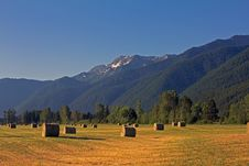 Hay Bales And Mountains Royalty Free Stock Images