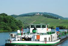 Barge On Moselle River Royalty Free Stock Image