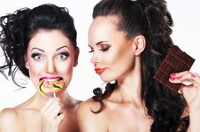 Glam. Couple Of Funny Women Holding Sweets. Positive Emotions. Vitality Royalty Free Stock Photos