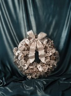 Christmas Luxury Wreath Vintage Style Stock Photo