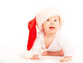 Free Beautiful Baby In A Christmas Hat Isolated On White Stock Photo - 32984040