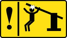 Free Sign - Caution Automatic Portal Stock Photo - 32980340