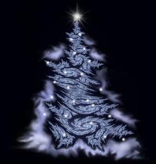 White Fractal Christmas Tree
