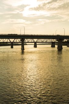 Free Dienfenbaker Bridge In Prince Albert Stock Photography - 32984852