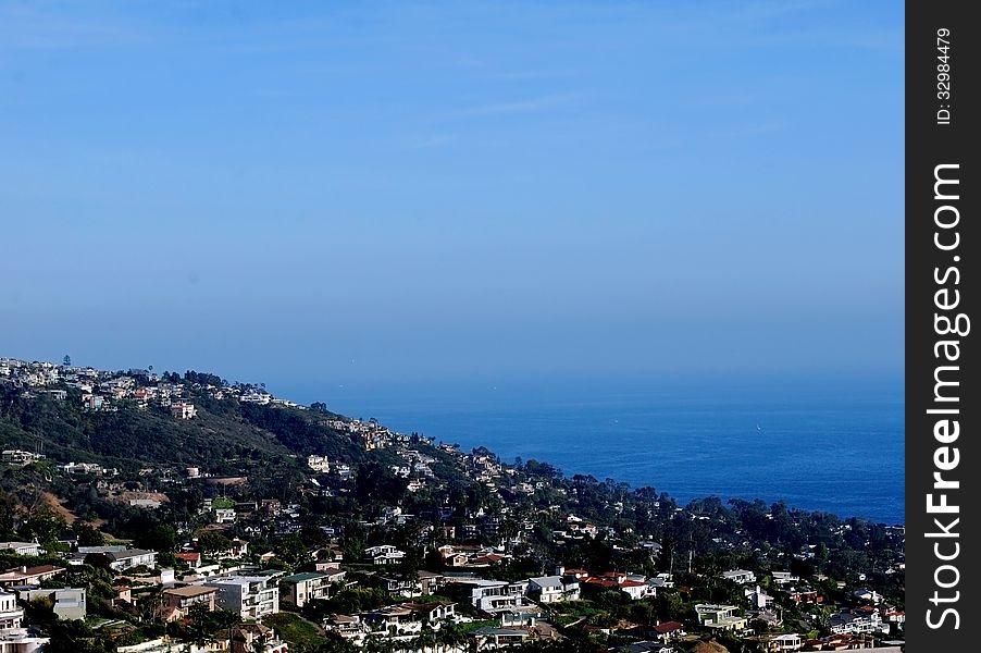 Panoramic ocean view of Laguna Beach from hilltop