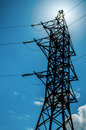 Free Power Lines Against The Sun Stock Image - 32993531