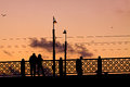 Free Galata Bridge In Istanbul At Sunset With People On The Bridge, P Royalty Free Stock Photo - 32997235