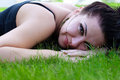 Free Brunette Lying On A Grass Royalty Free Stock Photos - 32999778