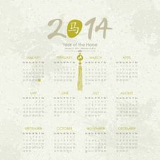Free Year Of The Horse - 2014 Calendar Stock Photos - 32992563