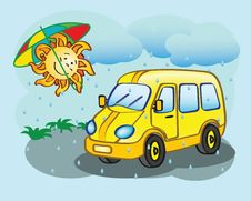 Free Fun Yellow Minibus And The Sun Royalty Free Stock Image - 32993426