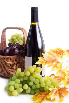 Free Ripe Red And Dark Grapes And Wine In Basket Stock Image - 32996481