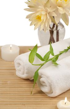 Free Spa Composition With Bamboo Plant And Waterlilies Royalty Free Stock Image - 32996766