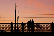 Couple Making Pictures On The Galata Bridge Royalty Free Stock Images