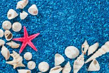 Star-fish And Seashells On Sand Royalty Free Stock Photography