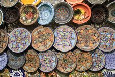 Free Tunisia Handcrafted Traditional Plates And Pottery Souvenirs Stock Image - 32998161