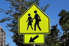 Free Pedestrian Crossing Sign Stock Image - 32998501