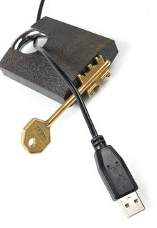 Free USB A Key And The Lock Stock Photo - 333290