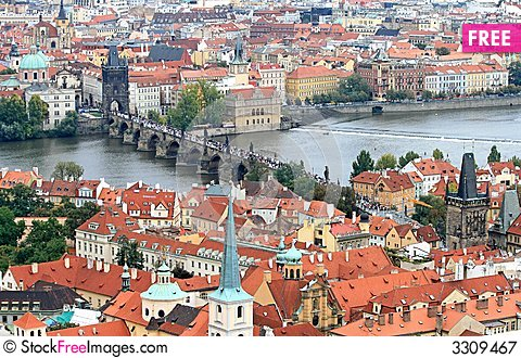 The aerial view of Prague Stock Photo