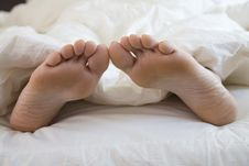 Free Sleeping Woman S Feet Royalty Free Stock Photography - 3300777