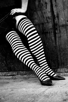 Free Striped Stockings Leaning Royalty Free Stock Images - 3301089