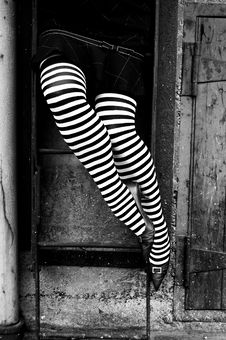 Free Striped Stockings Climbing Stock Image - 3301101