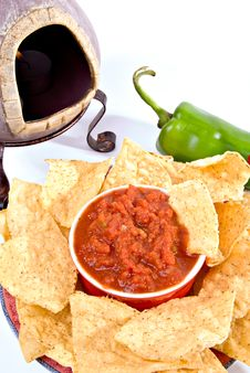 Free Closeup Chips, Salsa, Oven Royalty Free Stock Photo - 3301505