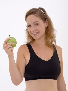 Free Fitness Girl With Apple Stock Photo - 3302500