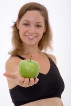 Fitness Girl With Apple Stock Photography