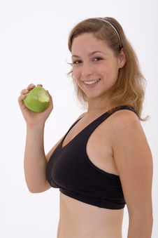 Free Fitness Girl With Apple Royalty Free Stock Images - 3302569