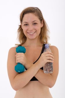 Fitness Girl And Water Stock Photos