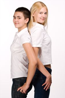 Free Blond And Brunette Stands Back To Back Stock Photography - 3302822
