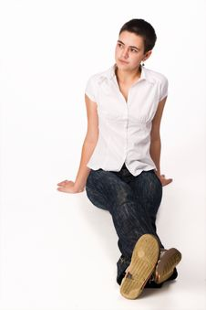 Free Close-cut Brunette Sits On The Floor Stock Image - 3302831