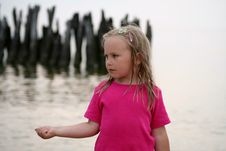 Free Girl On Coast Of Baltic Sea Royalty Free Stock Photos - 3302838