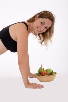 Girl And Some Fruit Royalty Free Stock Image