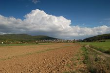 Countryside With Cloud Royalty Free Stock Image