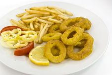 Free Fried Squid With French Fries Stock Photos - 3307723