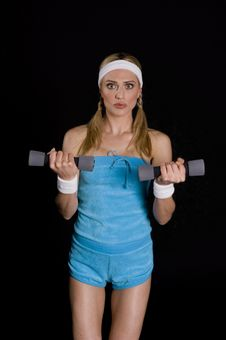 Woman Execising With Weights Stock Image