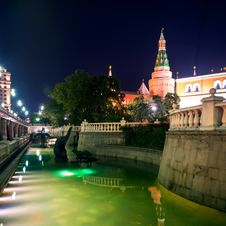 Manezhnaya Square At Night In Moscow Royalty Free Stock Photo