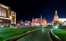 Manezhnaya Square At Night In Moscow Royalty Free Stock Photography