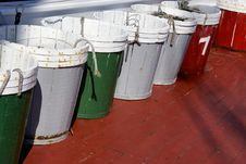 Free Wooden Pails On A Fishing Vessel Stock Image - 33013831
