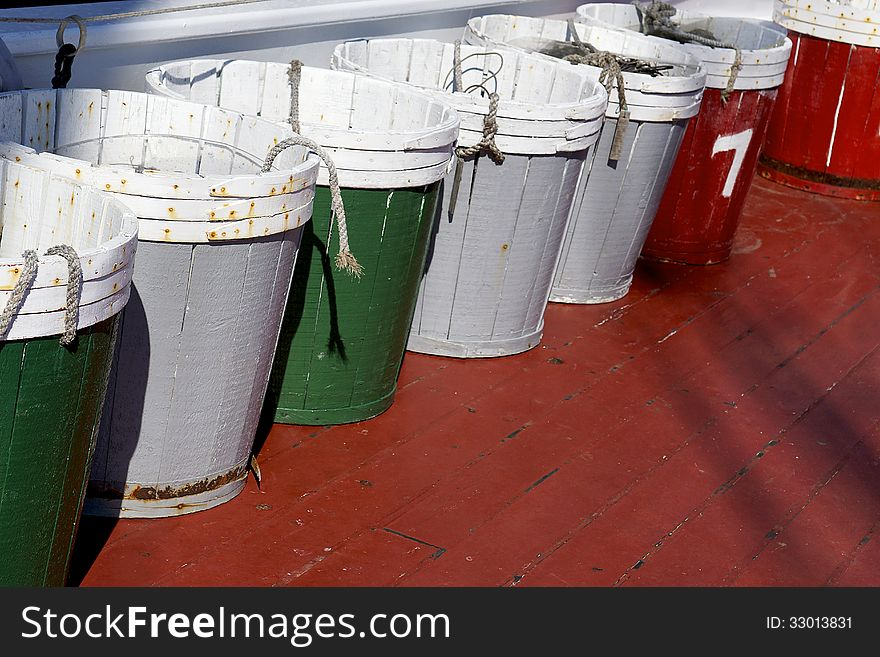 Wooden Pails on a Fishing Vessel