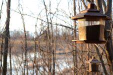 Free Two Bird Feeders Stock Photography - 33020692