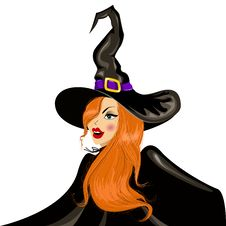 Free Vector Illustration Of Halloween Witch In The Hat Stock Photography - 33027762