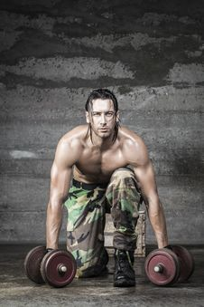 Portrait Of Muscle Athlete Royalty Free Stock Photography